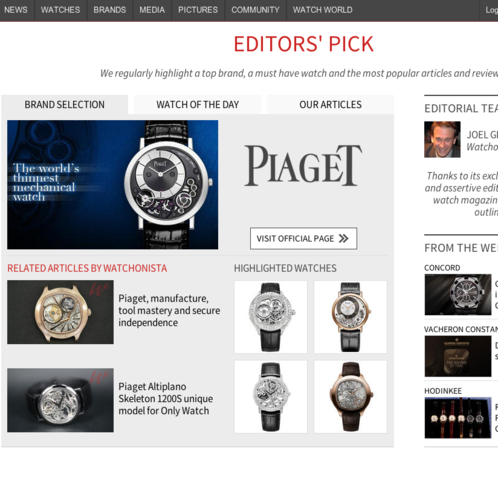 Watchonista - Homepage : Editor's pick