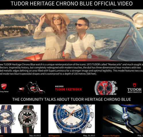 Watchonista - Tudor Chrono Blue action : Video
