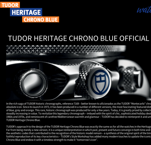 Watchonista - Action Tudor Chrono Blue : Page officielle