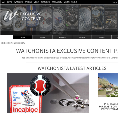 Watchonista - Media : Watchonista Blog, homepage