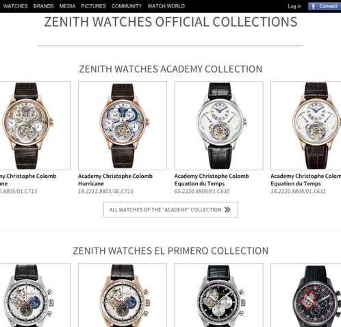 Watchonista - Brand : Zenith, the collections
